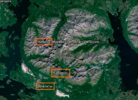 Горы Хибины, вид с космоса