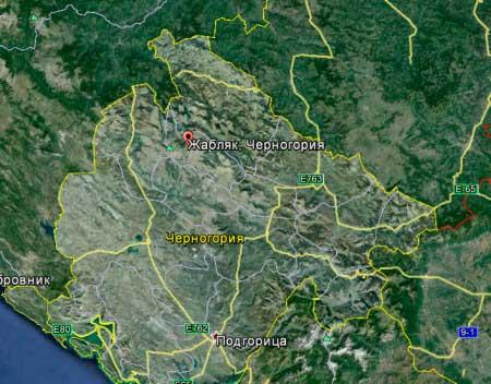 Черногория, вид с космоса