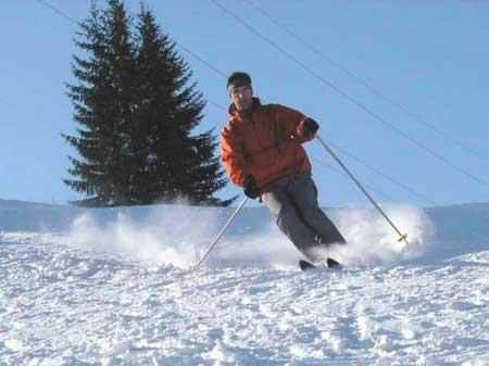 Первые шаги катания на горных лыжах