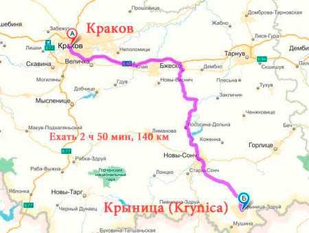 Как добраться в Крыница (Krynica)